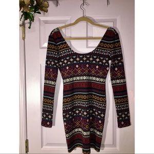 Multicolored Tribal Print Bodycon Dress